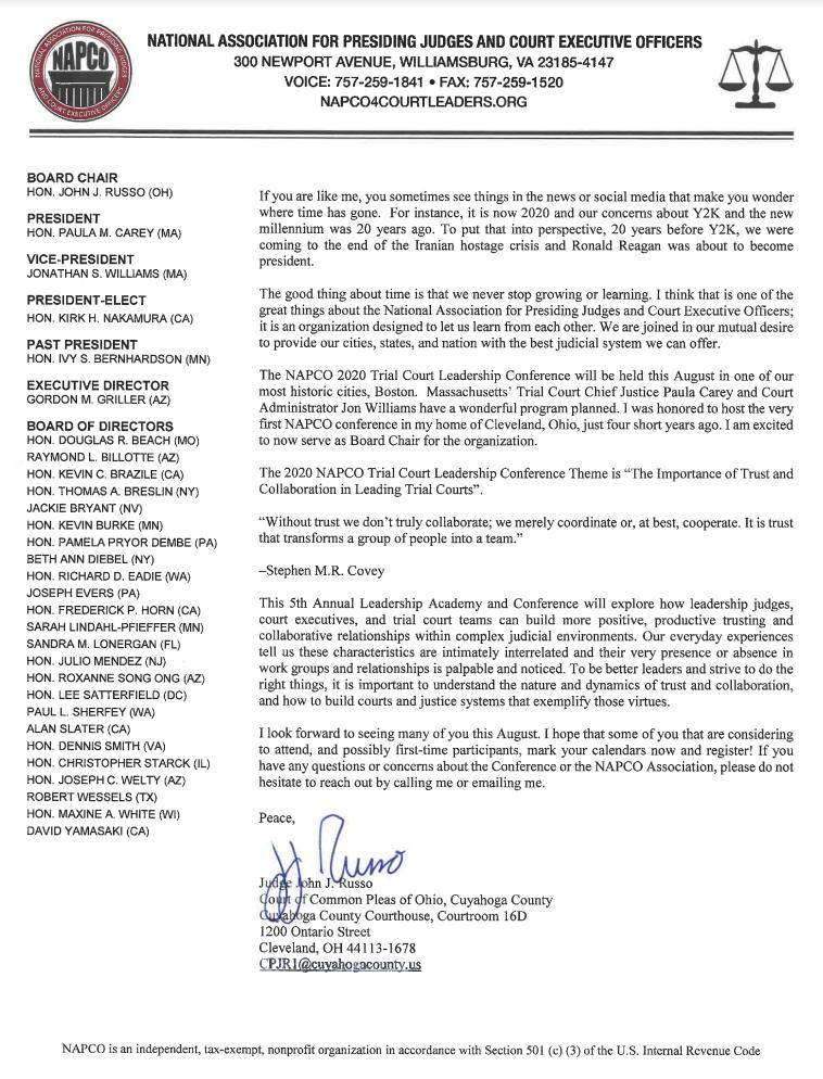 Judge Russo Invitation Letter